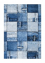 Tappeto 200 x 290 cm (wilton) - Indigo Denim Patch (blu)